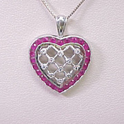 Ruby & Diamond Heart Pendant Necklace 14k White Gold