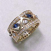 Vintage Sapphire & Diamond Wide Band / Ring 14k Gold
