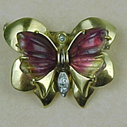 Vintage BUTTERFLY Brooch 18k Gold Watermelon Tourmaline & Diamond