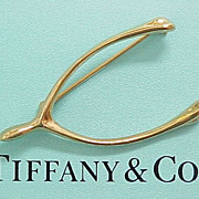 Vintage Tiffany & Co WISHBONE Pin Sterling Silver With Gold Finish
