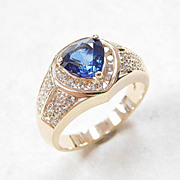 REDUCED Fancy Cut Sapphire & Diamond Ring 2.02 Carats Gem Weight 14k Gold
