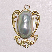Art Nouveau Blister Pearl Pendant 14k Yellow Gold