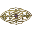 Art Nouveau Amethyst & Pearl 10k Gold Delicate Ornate Pin