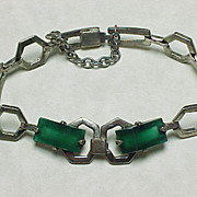 Art Deco Modernist Bracelet Sterling Silver & Chrysoprase