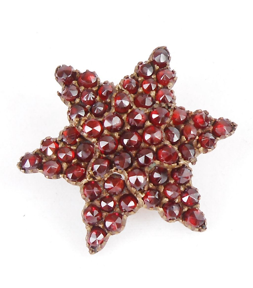 Victorian Era Bohemian Garnet STAR Brooch