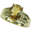 2.40 Carat Citrine & Diamond Ring 14k Yellow Gold size 7