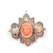 Early Victorian Carved Coral Cameo In Ornate Two Tone 9k Gold Setting