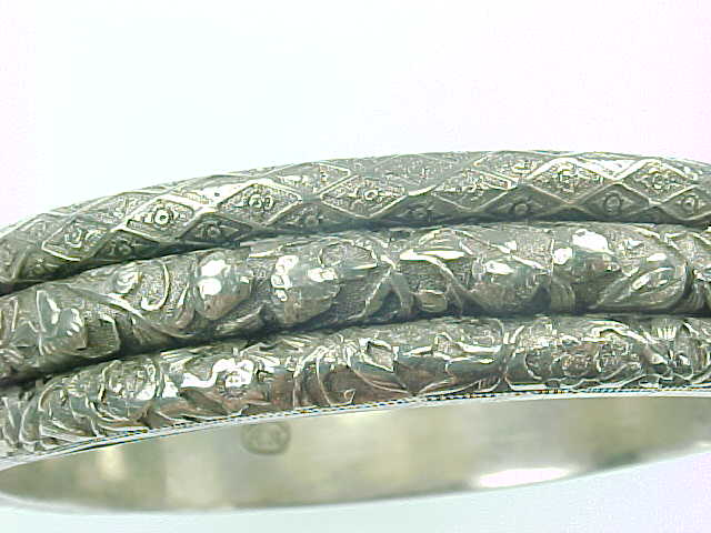 Beautiful Triple Row Engraved Sterling Hinged Bangle ART NOUVEAU