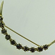 Garnet & 14k Yellow Gold Crescent Pin / Brooch