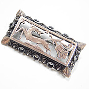 Georgian 8k Gold & Silver Brooch DEER Marcasite Accents