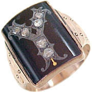Georgian Insignia Ring &quot;Y&quot; Onyx & Rose Cut Diamond 9ct Rose Gold