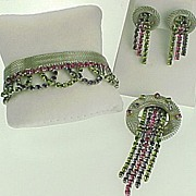 RARE Complete Hobe' Jewelry Suite- Bracelet, Brooch & Earrings