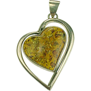 Sterling Silver Double Heart Baltic Amber Pendant ~ BIG