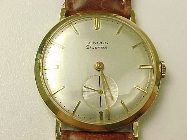 Vintage Benrus 14k Gold Mens Wrist Watch