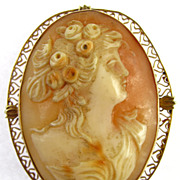 Carved Cameo 14k Gold Brooch / Pendant & Earring Set