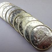 Half Roll of (10) 1966 Silver Canadian Dollars - BU Uncirculated Coins
