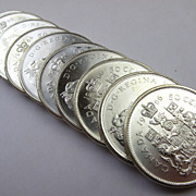 Half Roll of (10) 1966 Silver Canadian Half Dollars - BU Uncirculated Coins