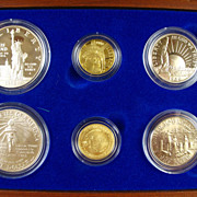 1986 Gold & Silver LIBERTY Proof Set - Ellis Island, Skyline, Crowned Liberty - Collectible ..