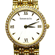 Tiffany & Co. Solid 18k Ladies Gold & Diamond Wristwatch
