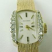 Vintage Movado 14k Gold & Diamond Ladies Dress Watch