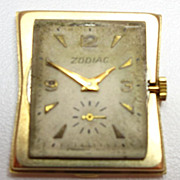 Vintage Zodiac 14k Gold Wrist Watch