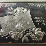 Vintage Collectible 1973 Fine Silver Bar - Mother's Day - .999 Bullion