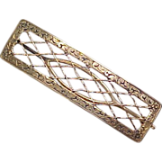 Art Nouveau 14k Gold Hair Clip Floral Engraved