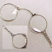 Art Deco 14k White Gold Lorgnette  Folding Magnifying Glass Pendant