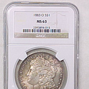 NGC Certified 1883-O  U.S. Morgan Silver Dollar MS 63