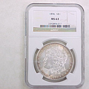 NGC Certified 1896 U.S. Morgan Silver Dollar MS 63