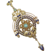 Edwardian Pendant / Brooch 18k Emerald & Diamond Cobalt Enamel