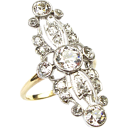 Edwardian 1.75 ctw DIAMOND Ring Platinum Top Ornate Details