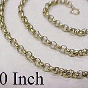 "Edwardian Round Link Chain Necklace 14k Gold 30"" Length"