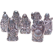 Vintage 950 Silver Figural Salt & Pepper Set of 7 ASIAN Gods