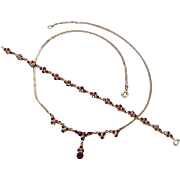 Vintage European 9k Gold GARNET Set, Bracelet & Necklace