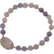 Art Deco Carved Amethyst & Rose Quartz 15mm Bead Necklace