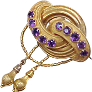 Victorian Amethyst Festoon Brooch 14K Gold
