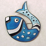 Vintage David Andersen FISH Brooch Enameled Sterling Silver