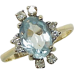 Aquamarine & Diamond Ring 1.50 Carat Total Gem Weight 14K Gold