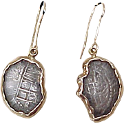 Ship Wreck ATOCHA Coin Earrings 14k Gold Frames With COA