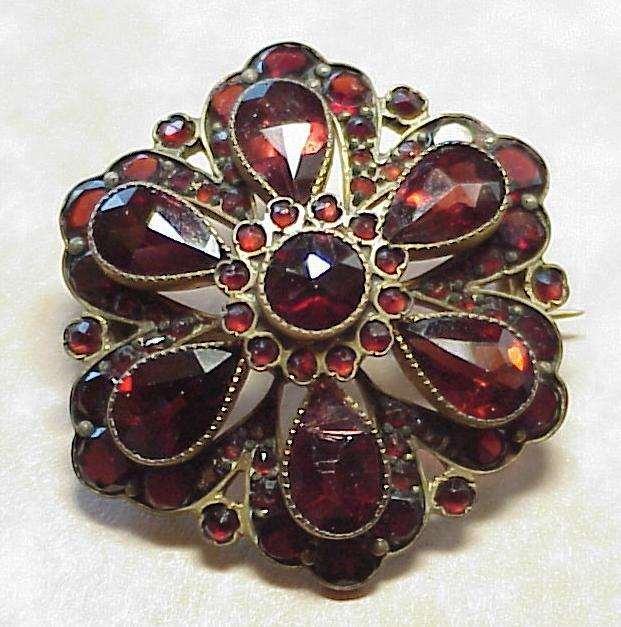 Victorian Era Bohemian Garnet Brooch ~ Floral Design
