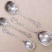 Vintage 830 Silver Norway Brodrene Lohne 4 pc SPOON Set
