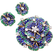 Designer Signed 18k Enameled DIAMOND Brooch & Earrings