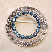 Vintage CARL-ART Sterling Blue Glass Brooch / Pendant