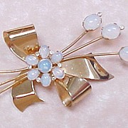 Vintage CORO Sterling Brooch , Moonstone Gold Over-Lay