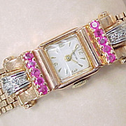 RETRO Ladies Watch CROTON 14k Rose Gold RUBY & Diamond