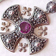 Crusaders Cross 950 Silver Alexandrite Pendant Necklace
