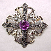 Large 900 Silver Crusaders CROSS Pendant / Brooch Alexandrite 10 Carat
