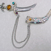 Sterling Silver Brooch Dagger & Sheath Colorful Jeweled 1940-50's