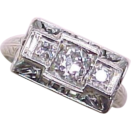 Art Deco Diamond Ring 18k White Gold .40 ctw VS Quality